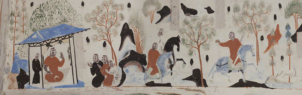 Detail of the king of Benares going hunting from the Syama jataka tale mural.  Mogao Cave 302.Sui,581-618 CE. Dunhuang. Image courtesy of the Dunhuang Academy.