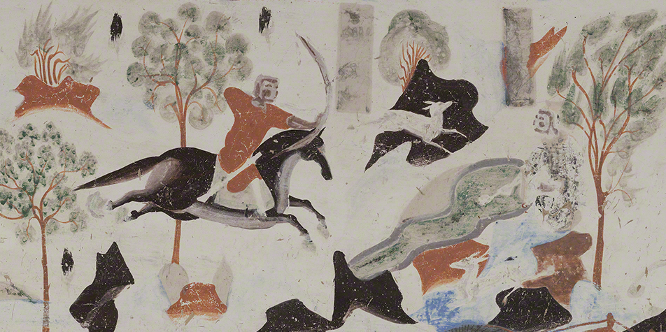 Detail of the king of Benares shooting Syama from the Syama jataka tale mural.  Mogao Cave 302.Sui,581-618 CE. Dunhuang. Image courtesy of the Dunhuang Academy.