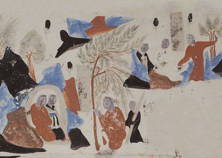 Detail of the king of Benares visiting Syama's parents from the Syama jataka tale mural.  Mogao Cave 302.Sui,581-618 CE. Dunhuang. Image courtesy of the Dunhuang Academy.