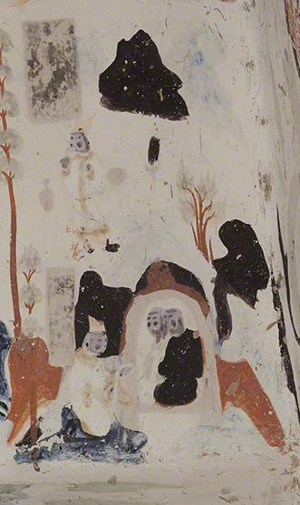 Detail of the reunited family from the Syama jataka tale mural.  Mogao Cave 302.Sui,581-618 CE. Dunhuang. Image courtesy of the Dunhuang Academy.