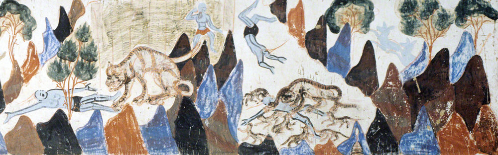 Detail of the Prince Mahasattva's sacrifices to the tigers. Second register, right section.   Mogao Cave 428. Northern Zhou, 557-581 CE. Dunhuang. Image courtesy of the Dunhuang Academy.