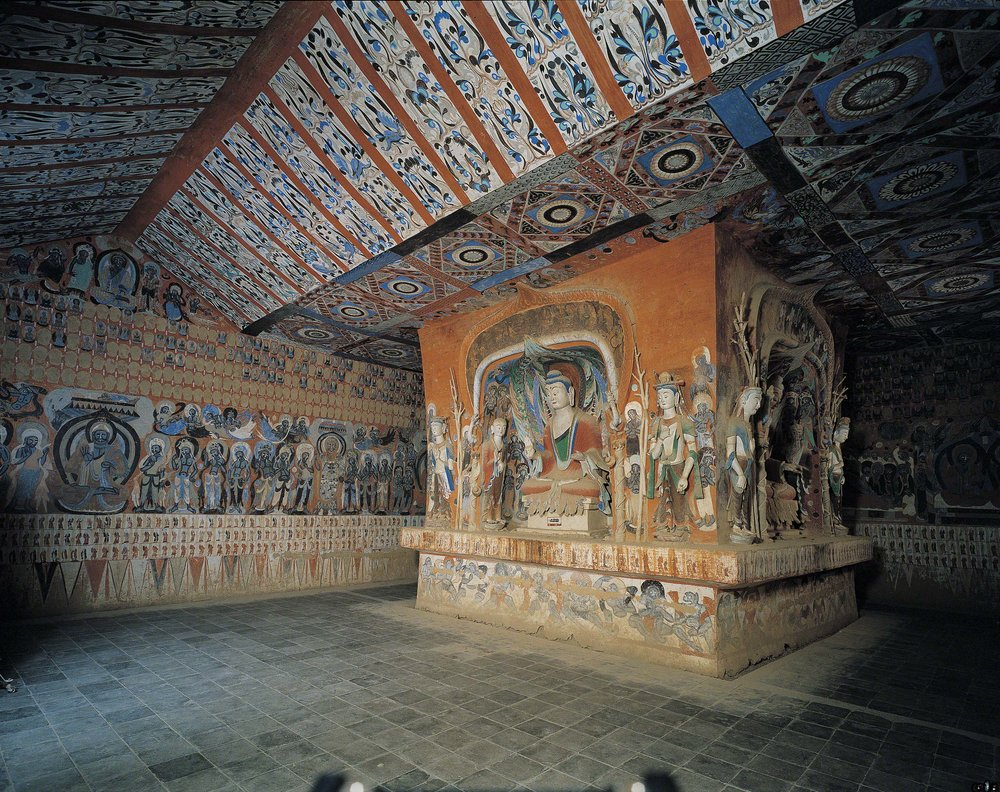The central pillar in Mogao Cave 428. Northern Zhou dynasty. 557-581 CE. Dunhuang. Image courtesy of the Dunhuang Academy.