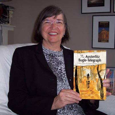 Janet Shailer with her book, The Austerlitz Bugle-Telegraph