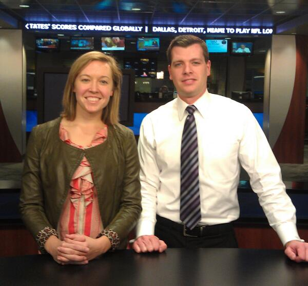 A photo of John Paul (Morning Anchor on WHIO-TV) and me at the Cox Media Group office in Dayton, Ohio.