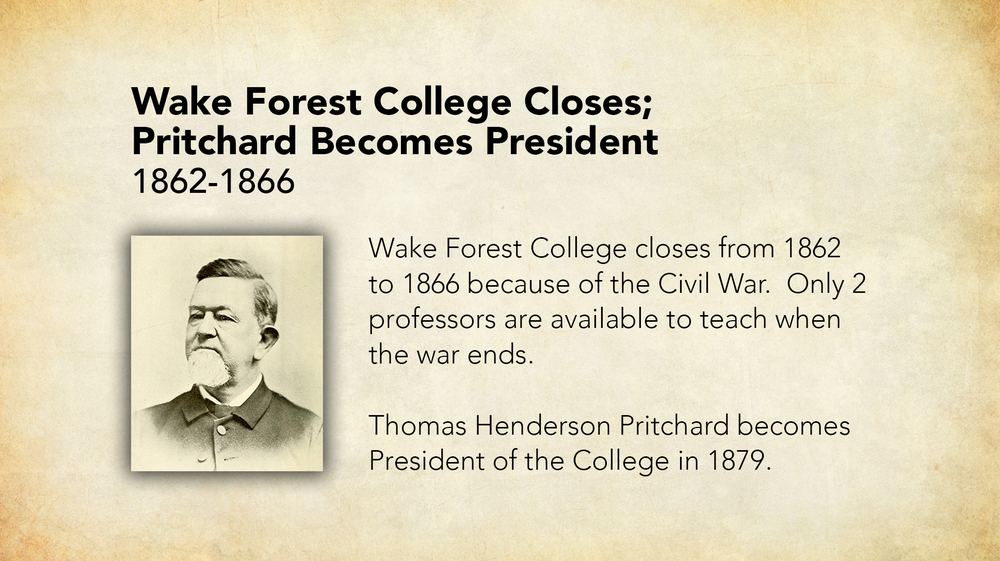 1862-1866 - Wake Forest College Closes, Pritchard Becomes President.jpg