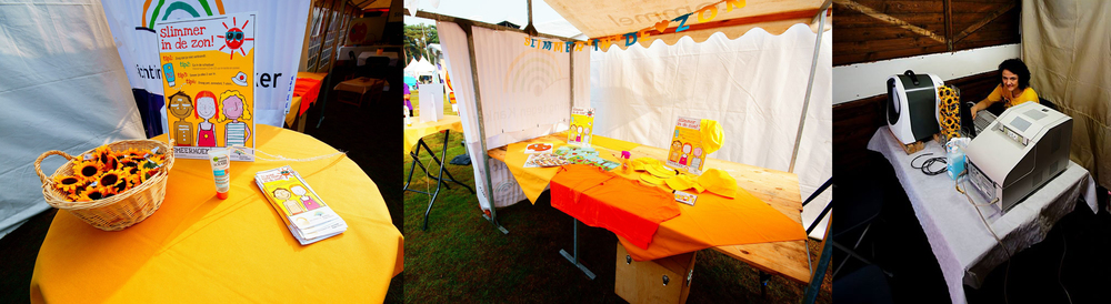 Figure 2: From left to right --> (A) Sunscreen corner at Relay For Life Lommel, (B) Sun prevention kit for schools, from the Belgium Foundation Against Cancer, (C) Setup of the UV-scanner at Relay For Life Lommel. ©Ruben Vanderhoydonk