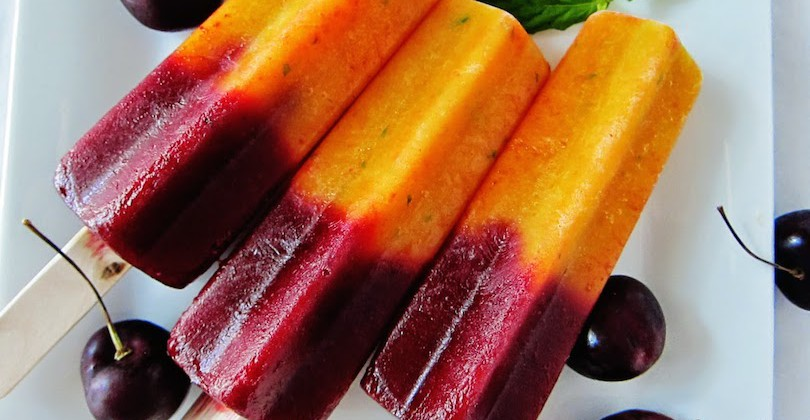 http://rawfoodrecipes.com/recipes/cherry-nectarine-mint-popsicles/
