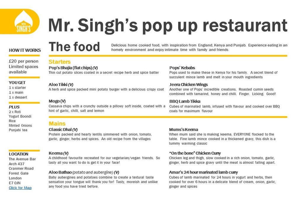 Mr Singhs Pop-Up restaurant menu