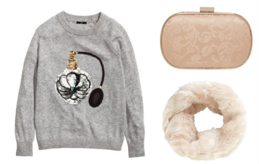 H&M jumper, TK Maxx clutch & Topshop fux fur snood