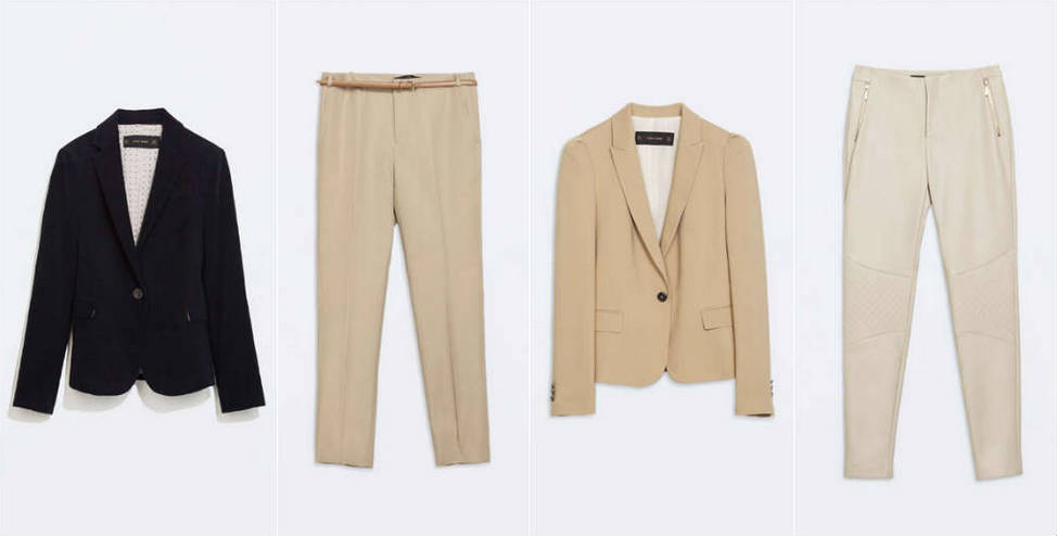 Navy velvet blazer, camel trousers, beige blazer and cream leather feel trousers