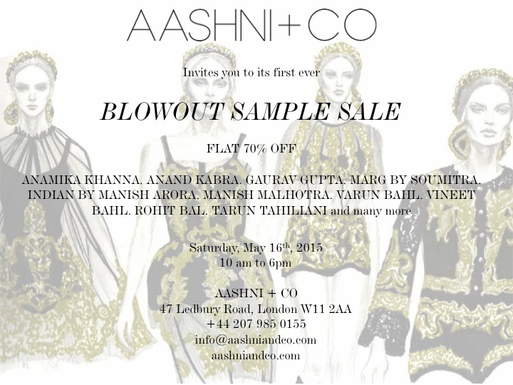 Aashni & Co Blowout Sample Sale