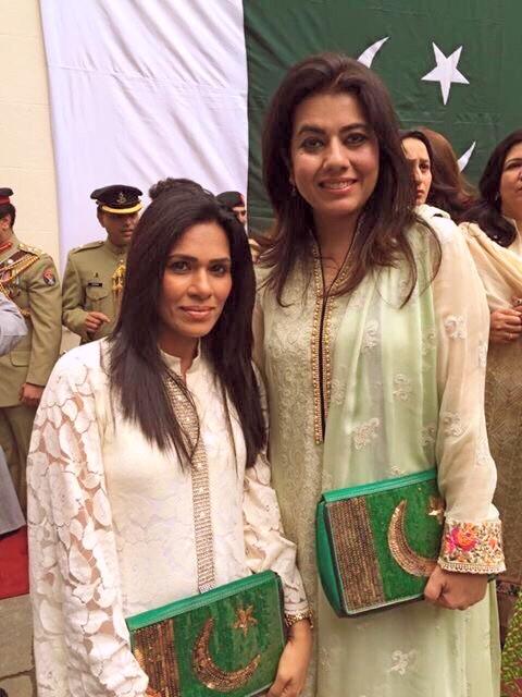 Hajira Ahmad wearing designer Moazzam abbasi and (Right) Mrs Sadaf Syed Ibne Abbas- wear her own design both carrying bags by Designer Mahin Hussain..jpg