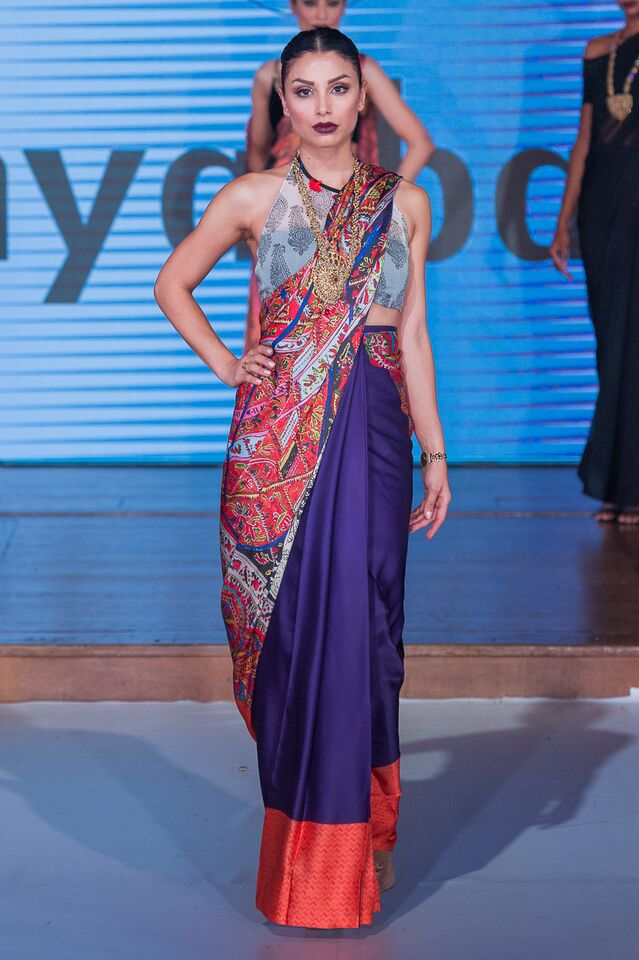 Sonya Battla at Pakistan Fashion Week London #PFW8 Spring & Summer saree trends 2016