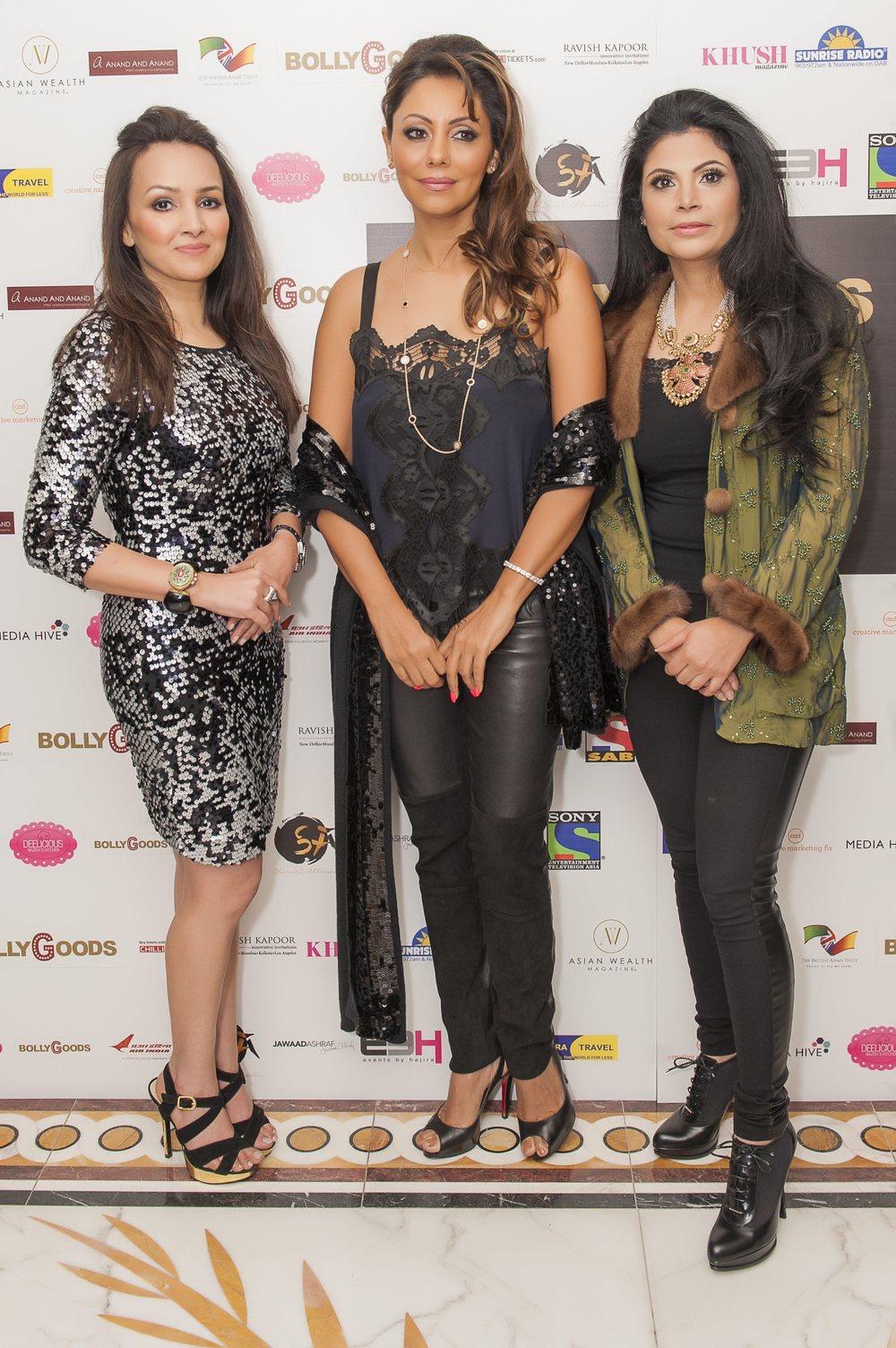 Promila Jain Bahri, Gauri Khan, Shivani Ahluwalia at BollyGoods Edition 2, London (photographer credit - Shahid Malik).jpg