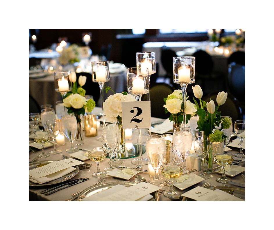 Wedding at Hotel Allegro by Fleur Inc, photo by Kina Wicks Photography.  Coordination by Estera Events