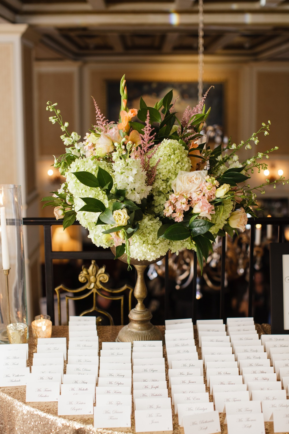 Place-card table by Fleur Inc, photo by Sarah Postma Photography