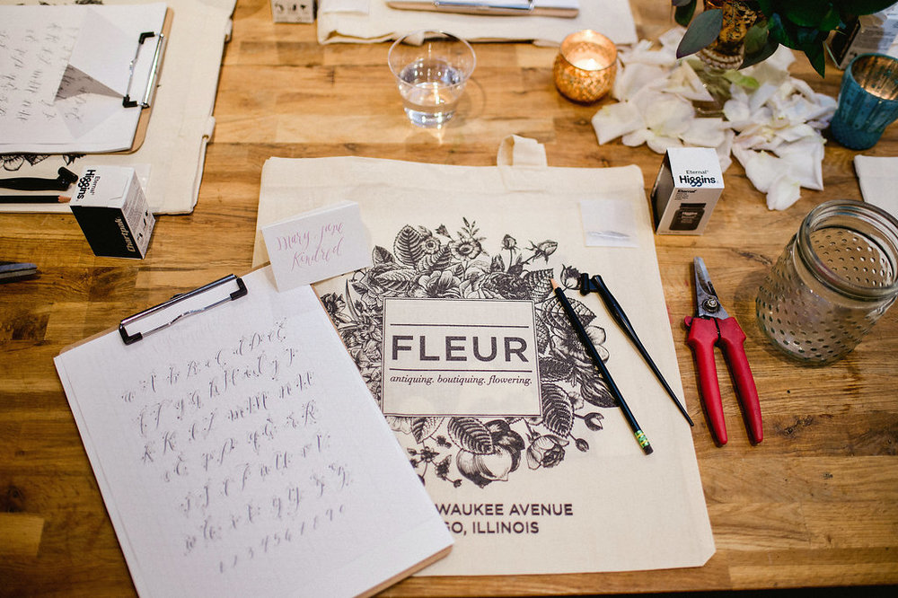 Calligraphy with Layers of Loveliness and floral design class at Fleur, Photo by Amanda Megan Miller