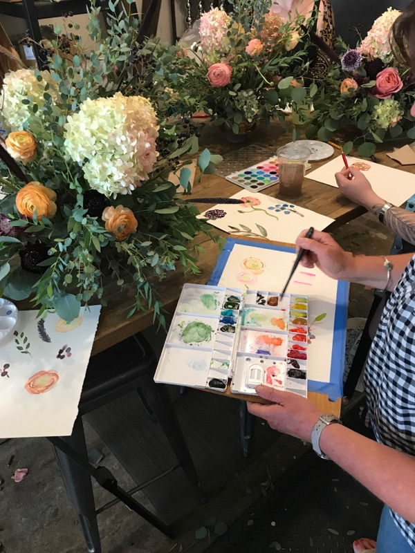 Watercolor & Floral Design Class in the studio.