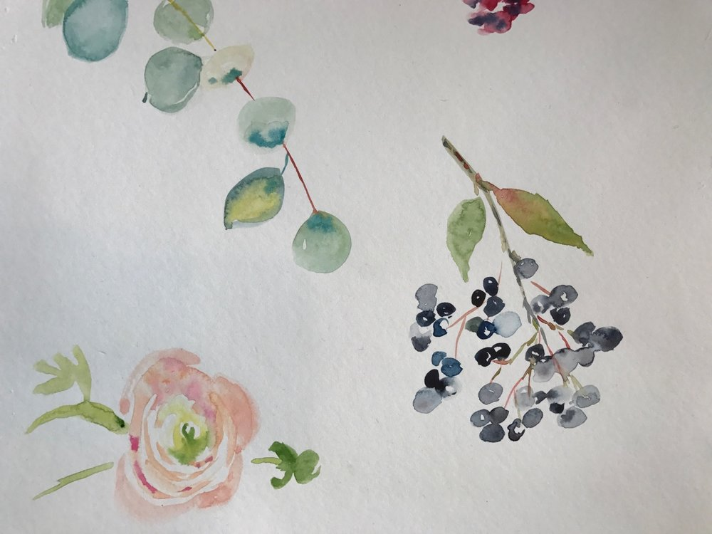 AA40FEDE-.jpgWatercolor & Floral Design Class in the studio.