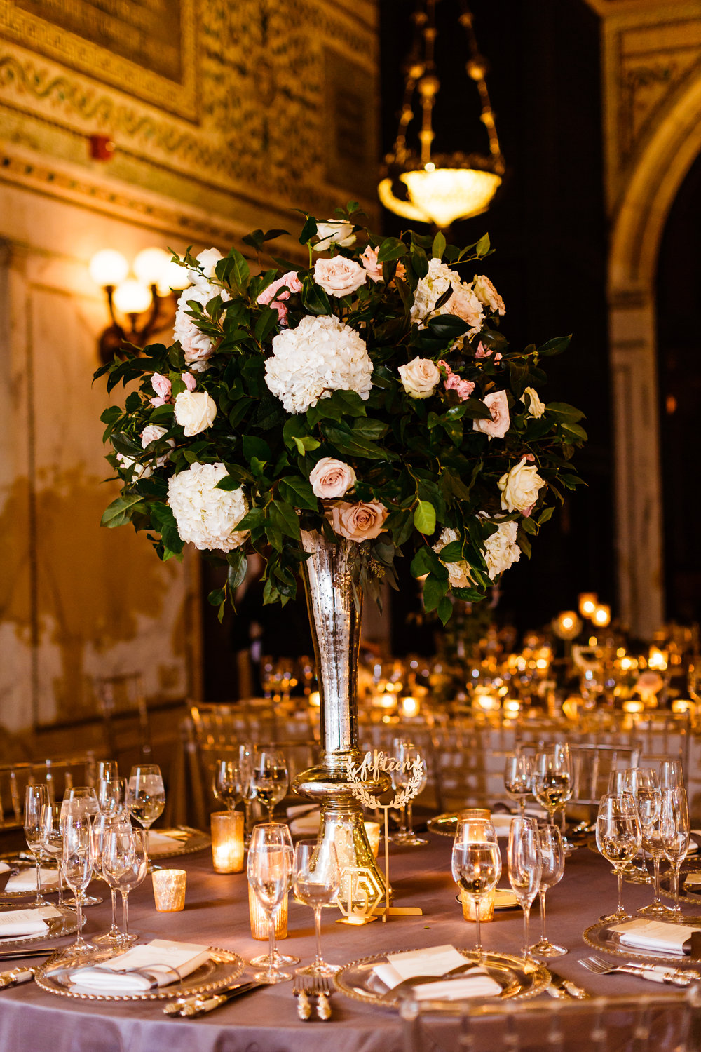 Fleur-Inc-Chicago-Cultural-Center-Jill-Tiongco-Photography-FiveGrain-Events-Winter-Wedding-elevated-centerpiece-mercury-glass