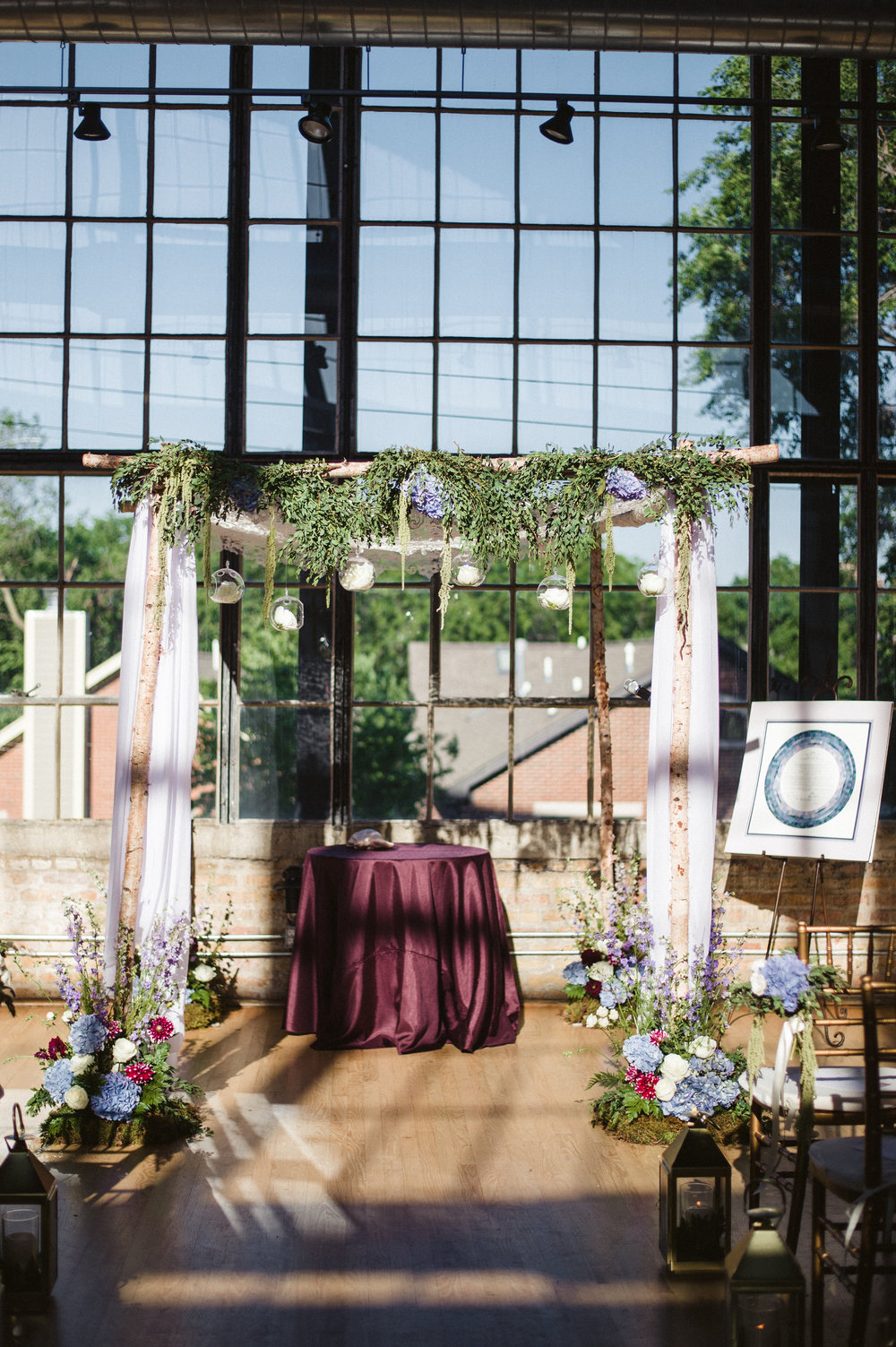 Fleur-Inc-Amanda-Megan-Miller-Photography-Ravenswood-Event-Center-Chicago-Summer-Romantic-Wedding-Lola-Event-Productions-Birch-Chuppah