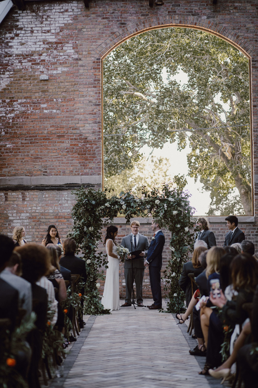 Bridgeport Art Center Wedding Ceremony, Flowers by Fleur Inc, Photo by Megan Saul Photography