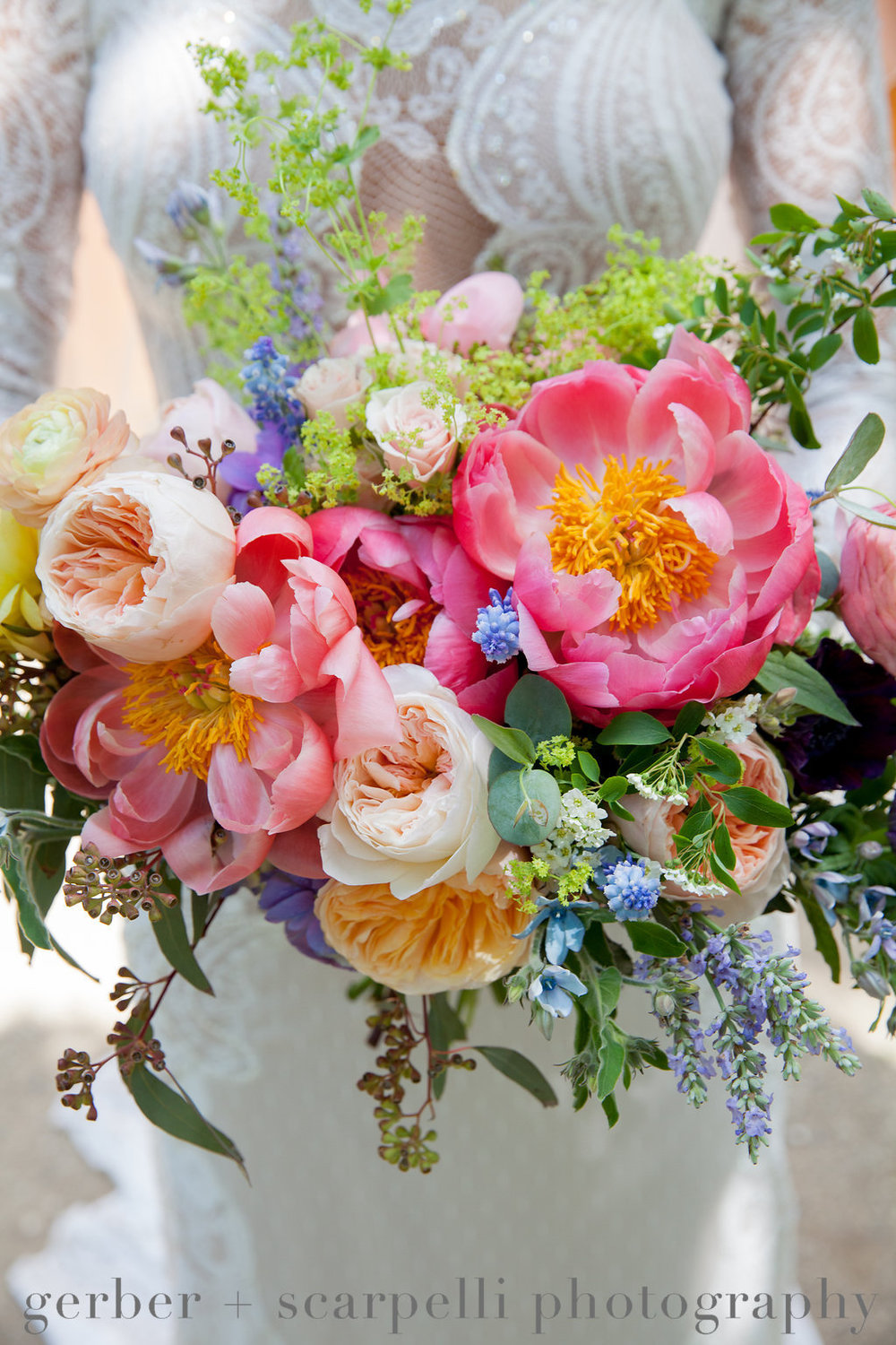 Coral Charm bouquet inspired by Monet's Garden.  Designed by Fleur Inc, photographed by Gerber & Scarpelli,