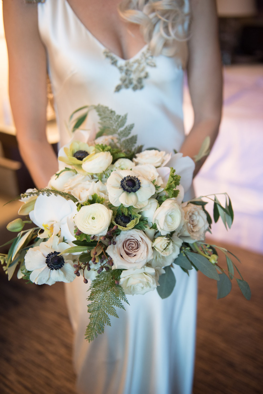 White anemone bridal bouquet designed by Fleur Inc at Thalia Hall.  Photographed by Gerber & Scarpelli Photography
