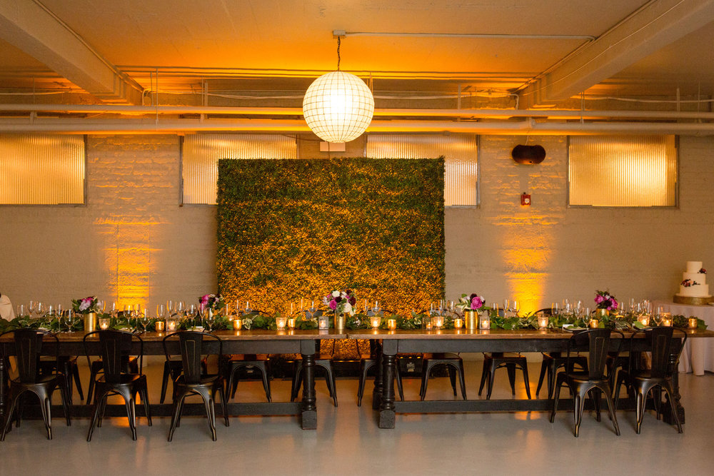 Boxwood backdrop for the head table at Artifact Events by Fleur Inc.  Photo captured by Olivia Leigh Weddings.