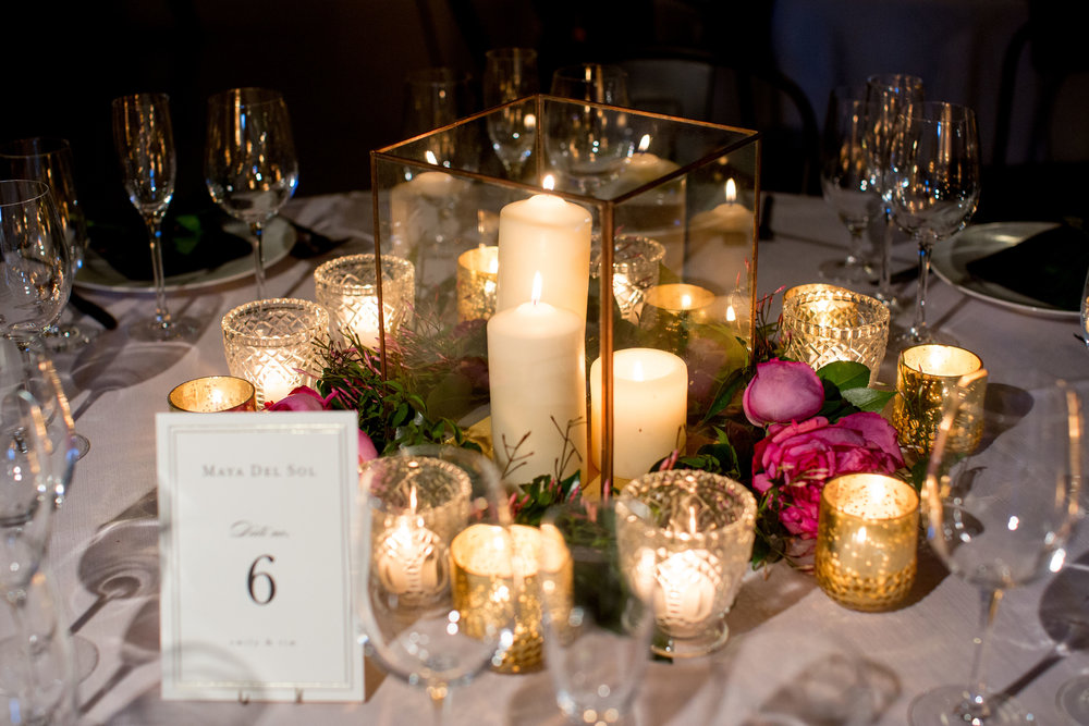 Taj candle holders at Artifact Events for a beautiful, glowing April wedding in Chicago.  Photo by Olivia Leigh Weddings
