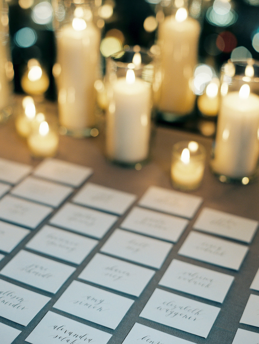 Candles by Fleur Inc, Photo by Clary Pfeiffer Photography.  Escort display at the Langham Hotel, Chicago.