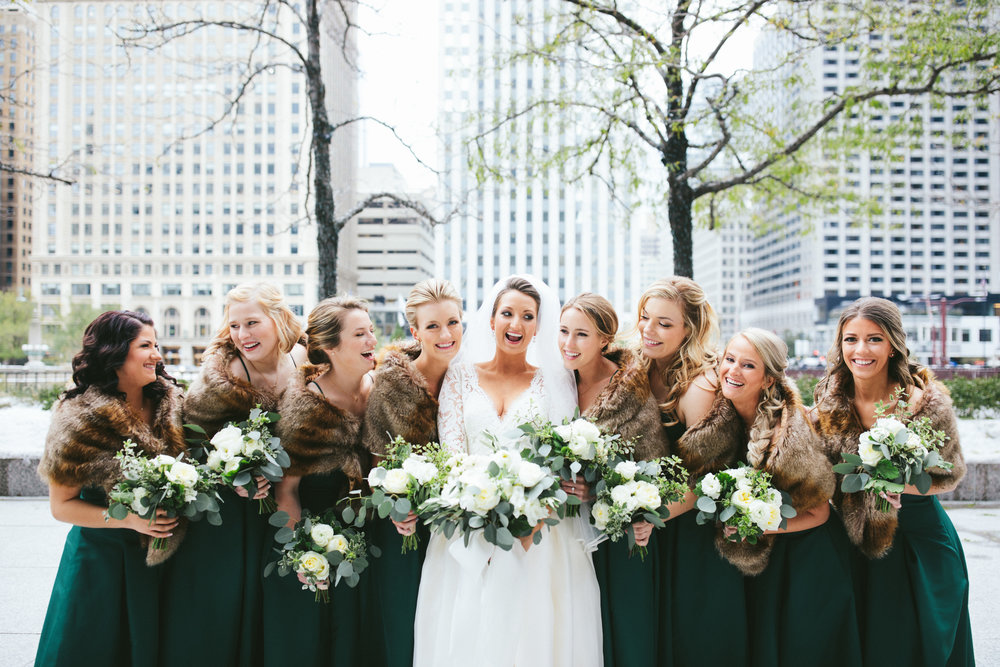 November wedding at the Chicago Culture Wedding, Flowers by Fleur, Planning by Shannon Gail, Images by Stoffer Photography.  Bridal Bouquet & Bridesmaid Bouquets