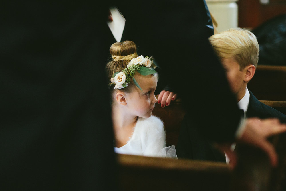 November wedding at the Chicago Culture Wedding, Flowers by Fleur, Planning by Shannon Gail, Images by Stoffer Photography.  Flower Girl Halo.