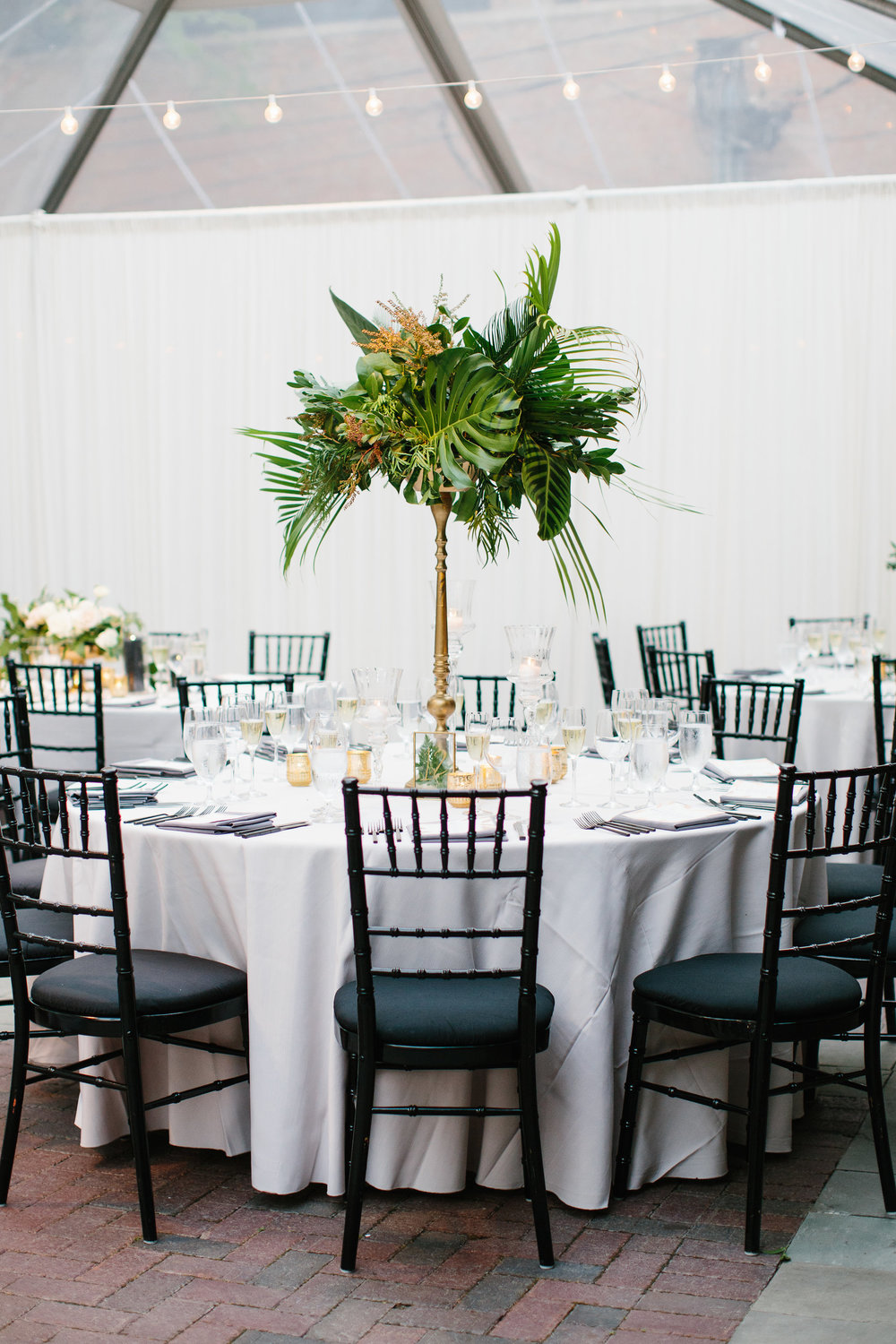 Wedding flowers by Fleur Inc at Chicago Illuminating Company.  Planning by LK Events, Images by Katie Kett Photography. Tropical Centerpieces.