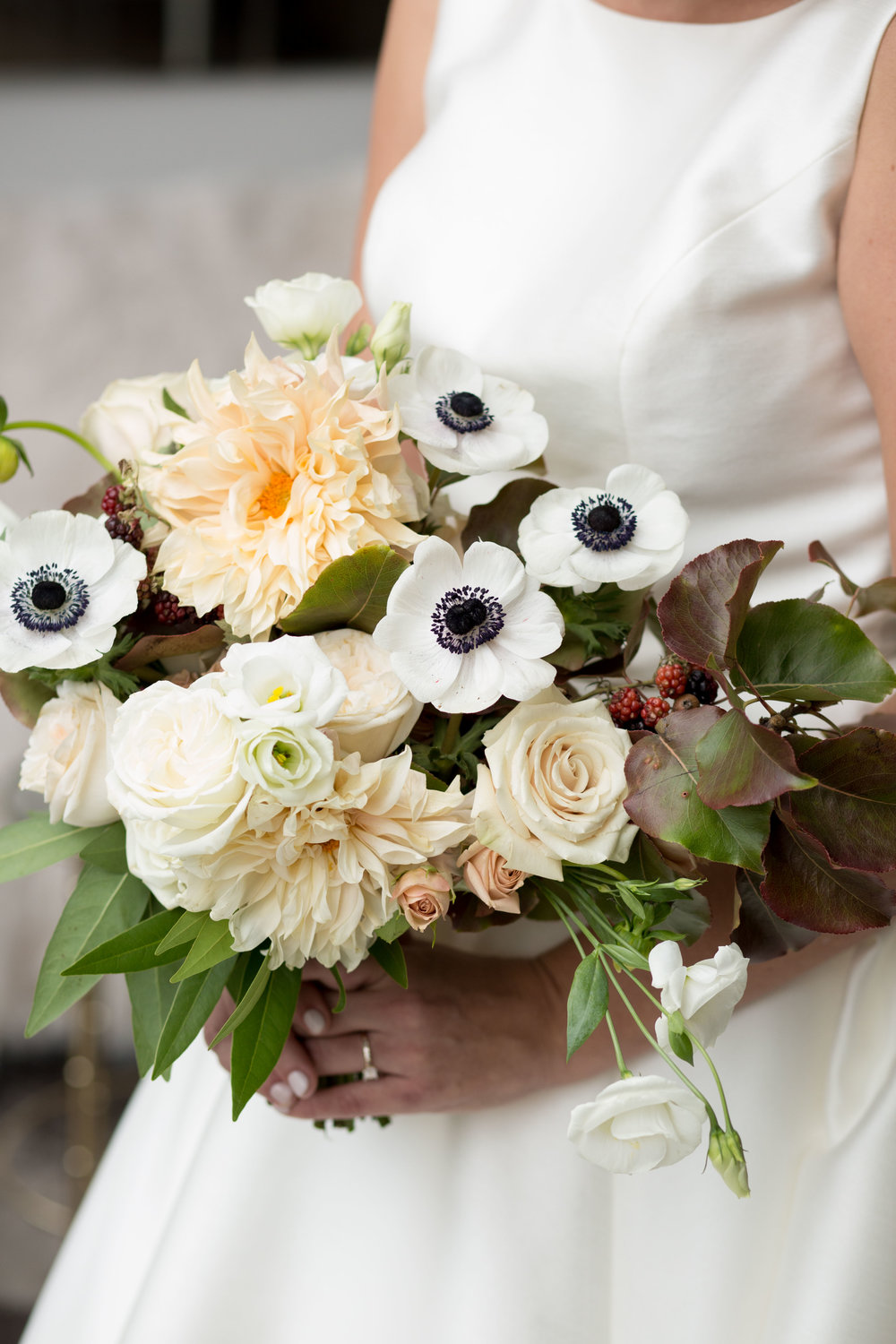 Floral by Fleur Inc, Photo by Natalie Probst, Anemone Bouquet, Chicago Wedding at Saddle & Cycle Club.