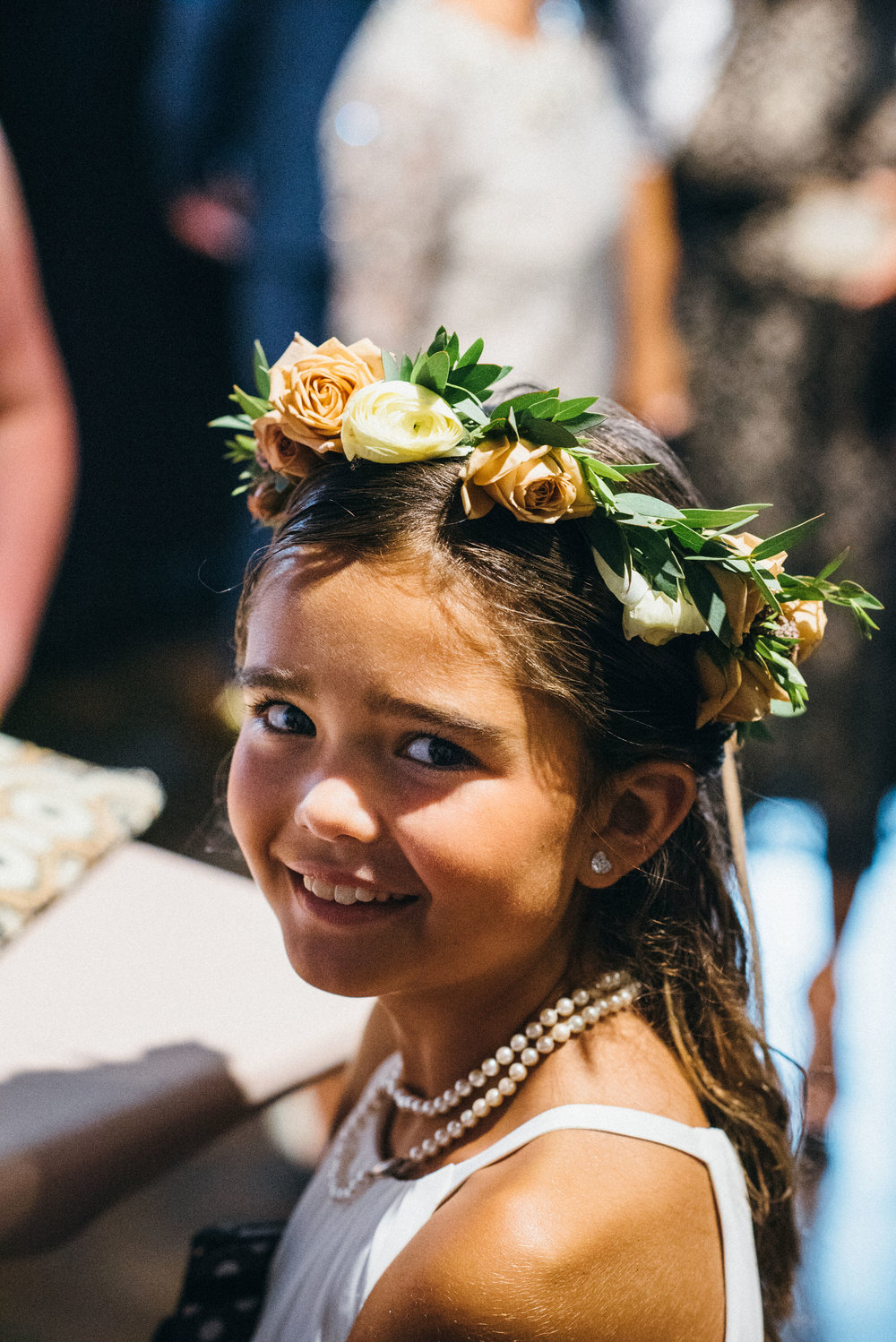 Flowers by Fleur, Photo by Couple of Dudes Photography, Planning by Estera Events at Morgan's on Fulton.  Flower girl halo.