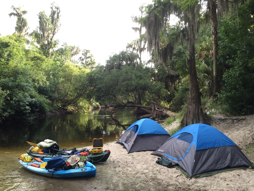 Campsite on the bank of the Alafia River