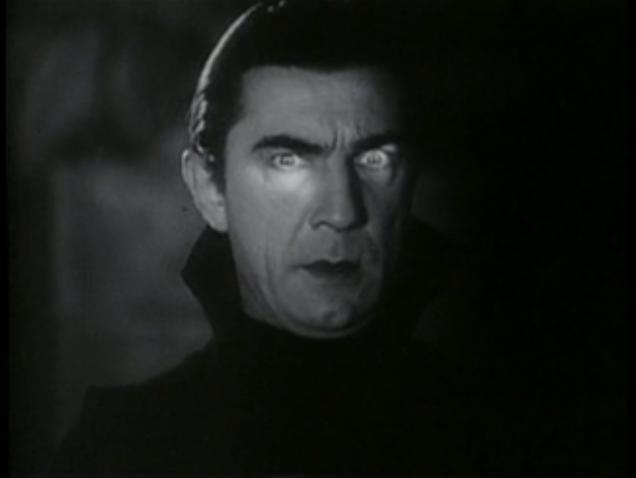 Even in darkness, we can see that Dracula (played by Bela Lugosi) has pale skin and red lips.