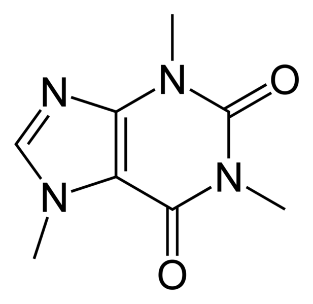 The molecular structure of caffeine.