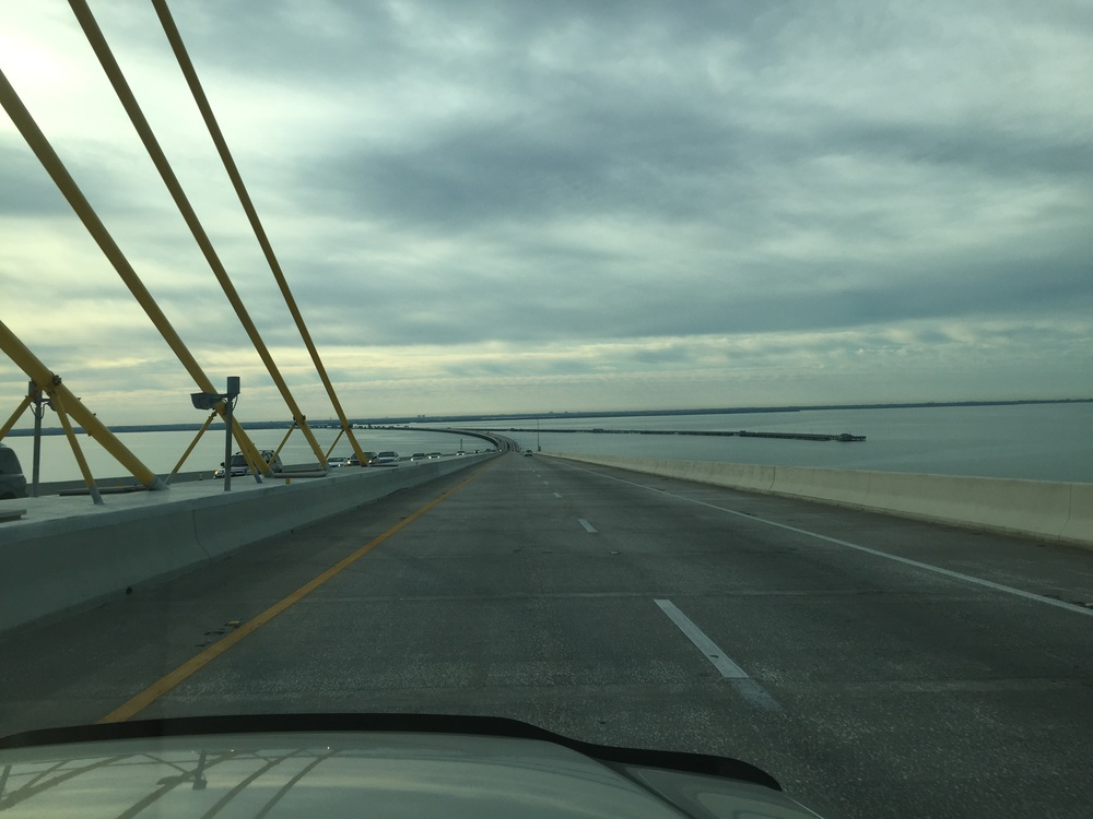 Early morning drive over the Sunshine Skyway bridge, Tampa Bay, Florida.