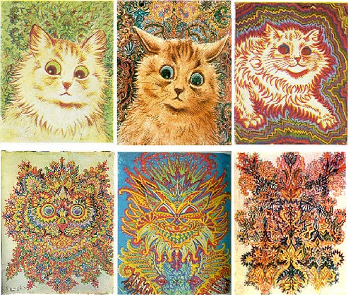 The art of Louis Wain throughout the progression of his schizophrenia.