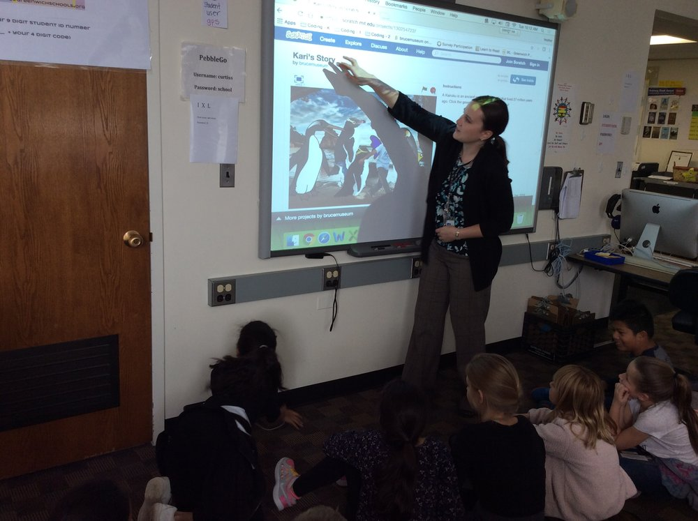 Here I am, explaining coding to students at Julian Curtiss School.  Photo by  Heather McGuinness