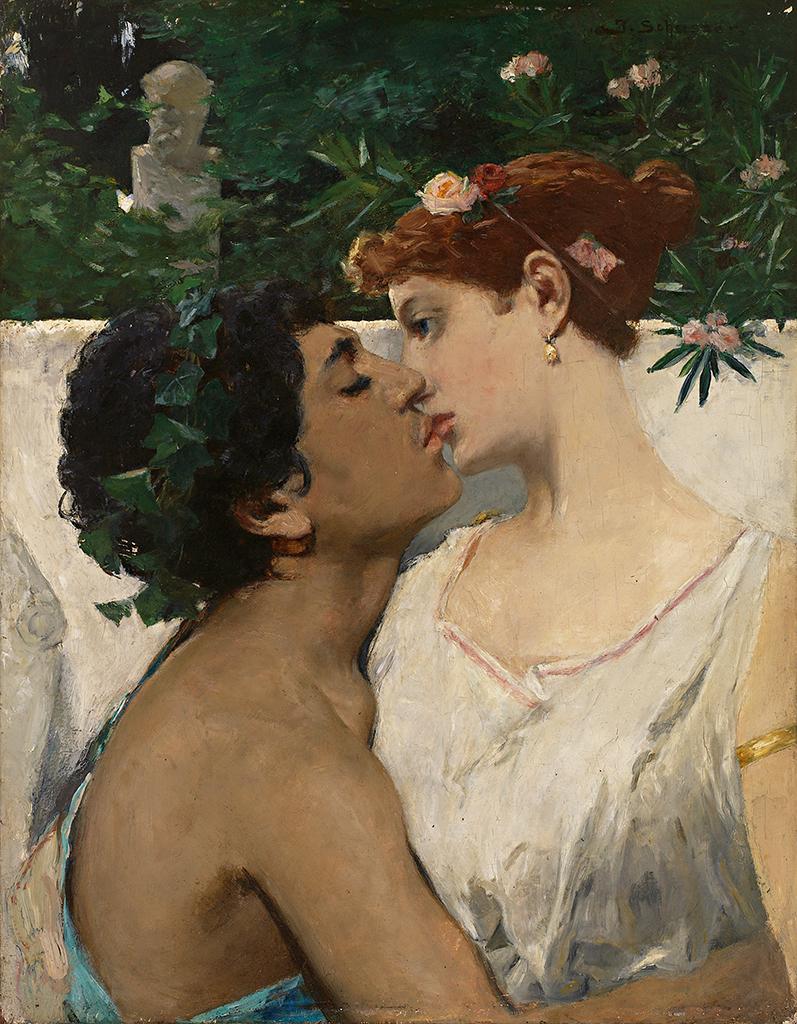 Küssendes Paar vor Marmorbüste im Park by Josef Schusser
