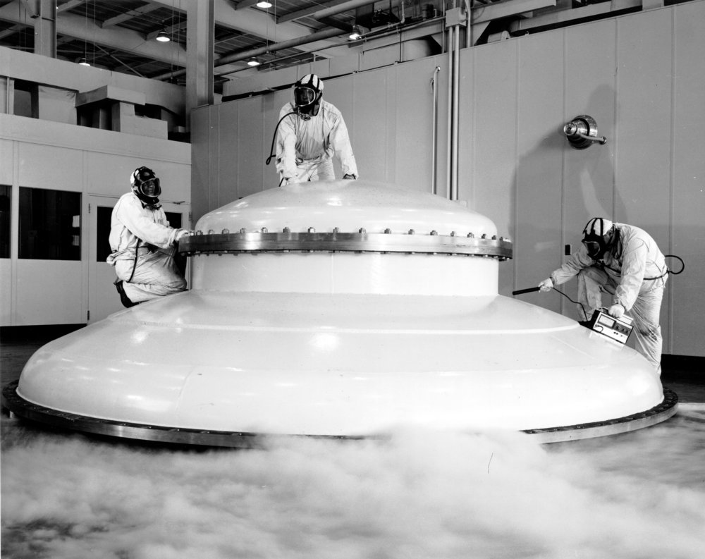 An impounded flying saucer, perhaps? Nope! A vacuum tank at the John H. Glenn Research Center.