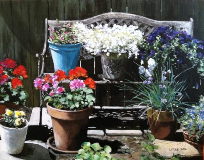 Garden Bench , acrylic on canvas