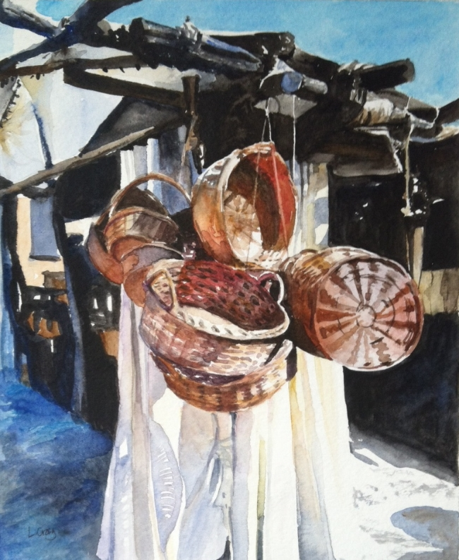 Baskets for Sale , watercolor