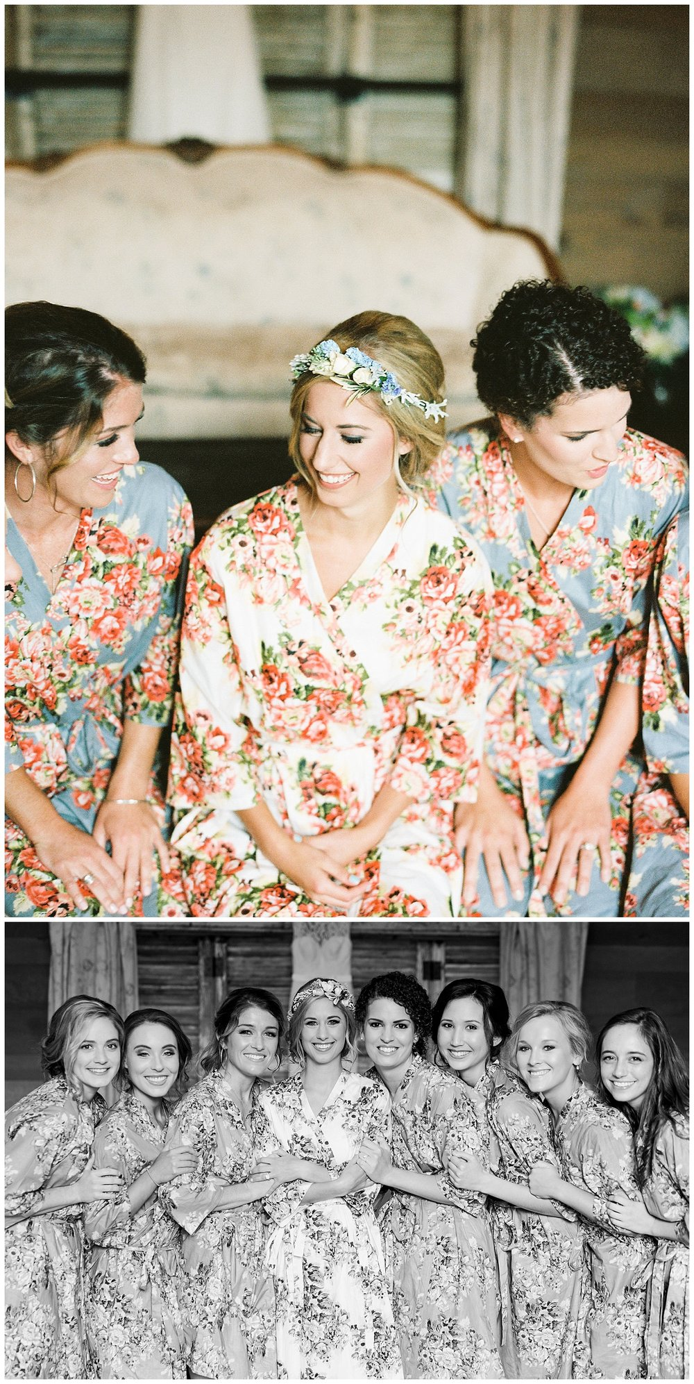 Shea chose these gorgeous floral robes for her ladies to wear on her special day! They matched the girls blue bridesmaids dresses, but were not the exact color. It created a beautiful color scheme, that matched but wasn't too matching. The girls looked so effortless in their robes as they got ready and snacked!