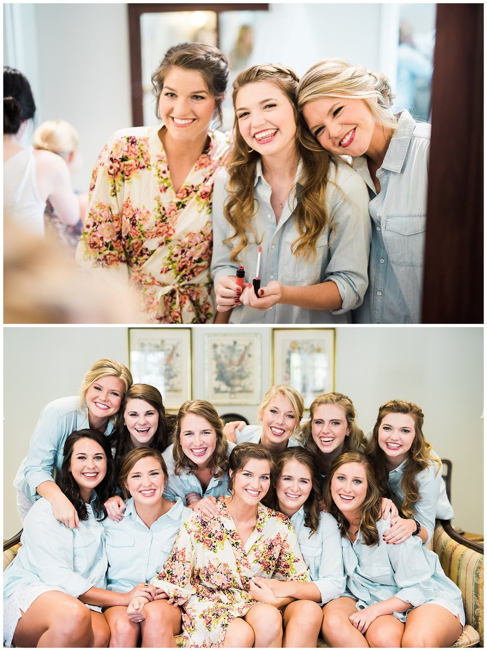 Hannah had her bridesmaids wear adorable cotton shorts, paired with a blue button down. I love the way she contrasted them with her floral robe! The colors matched the environment so perfectly and made for a beautiful morning of these ladies getting ready together.