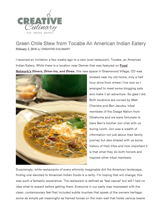 Creative Culinary Green Chile Stew