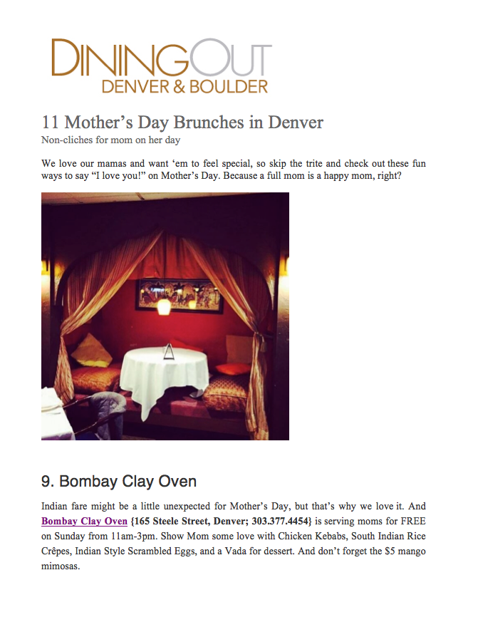 Dining Out Magazine Mother's Day